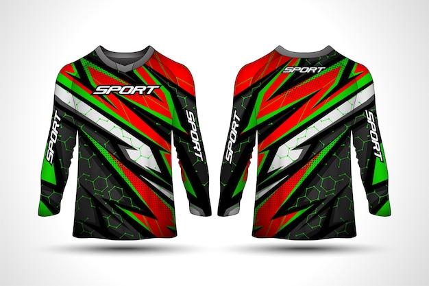 Modelo de design de t-shirt de manga comprida, camisola de motociclismo desportivo de corrida Vetor Premium