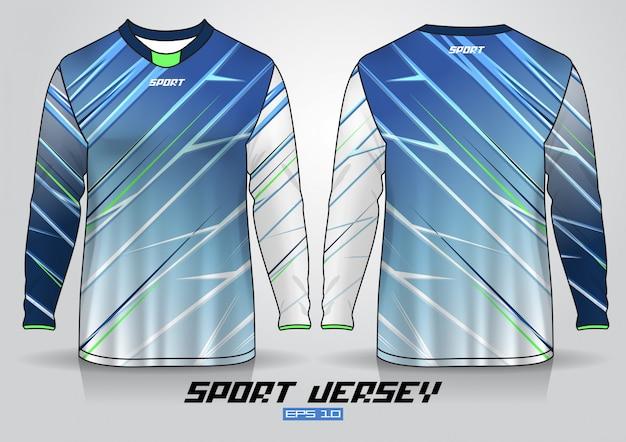 Modelo de design de t-shirt de manga comprida, frente uniforme e vista traseira. Vetor Premium