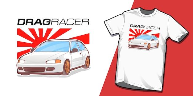 Modelo de design de tshirt de drag racer Vetor Premium