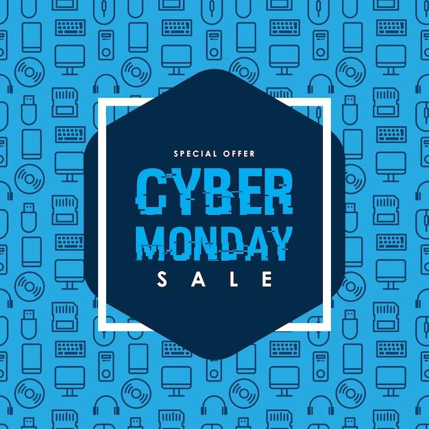 Modelo de design de venda de segunda-feira do cyber Vetor Premium