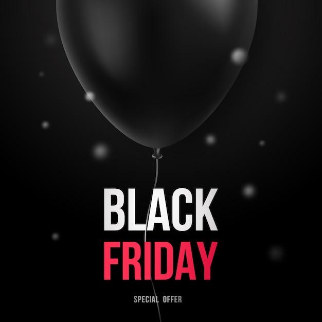 Modelo de design de venda de sexta-feira negra com balão preto. Vetor Premium