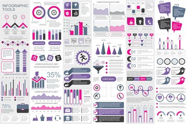Modelo de design de vetor de elementos infográfico Vetor Premium