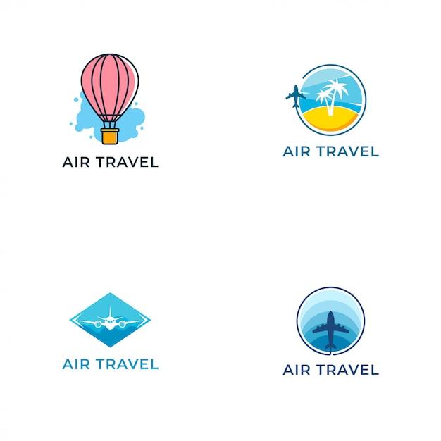 Modelo de design de vetor de logotipo de viagens aéreas Vetor Premium