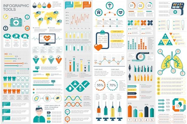 Modelo de design de vetor de visualização de dados de elementos infográfico médica Vetor Premium