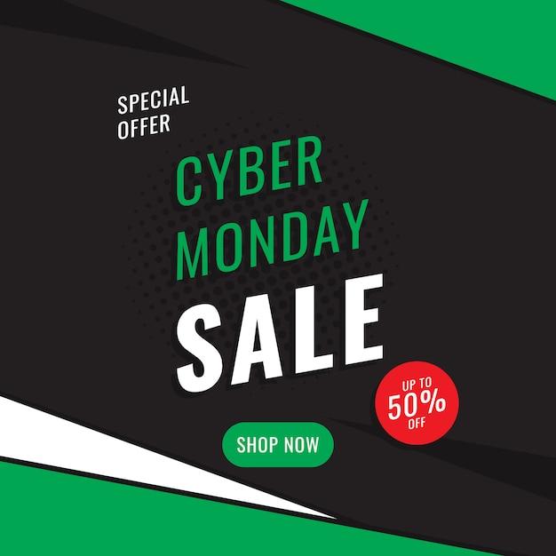 Modelo de design do banner quadrado 'cyber segunda-feira venda'. Vetor Premium