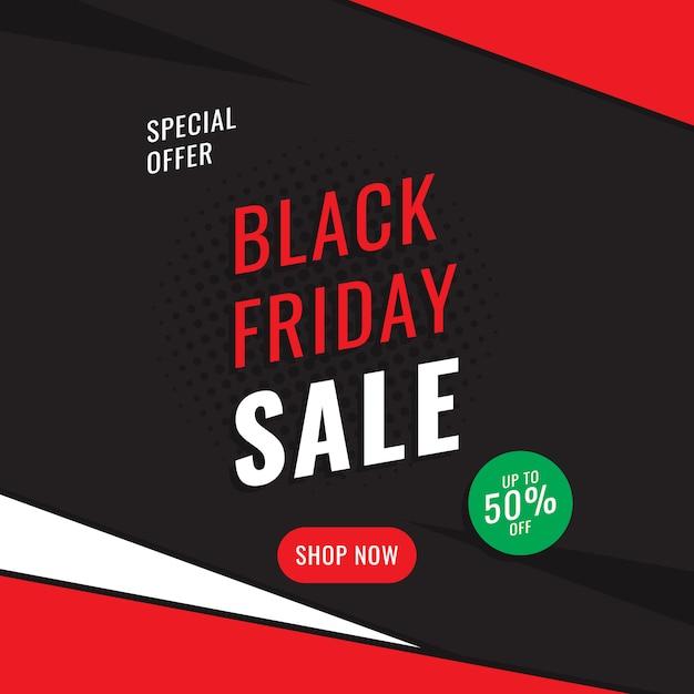Modelo de design do banner quadrado 'venda sexta-feira negra'. Vetor Premium