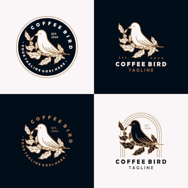 Modelo de design do café pássaro vintage logotipo. Vetor Premium