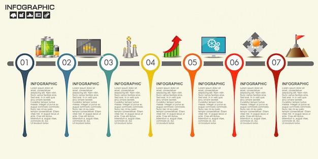 Modelo de design do cronograma de infográfico Vetor Premium