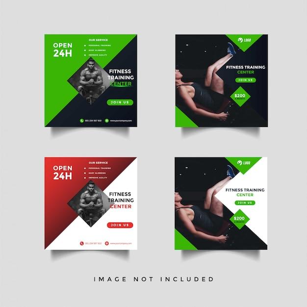 Modelo de design do esporte mídia social feed post promoção Vetor Premium
