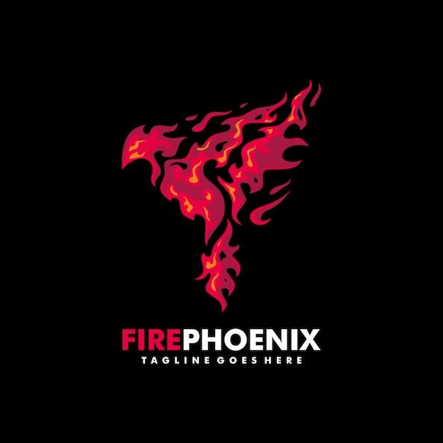 Modelo de design do fogo phoenix ilustração vector Vetor Premium