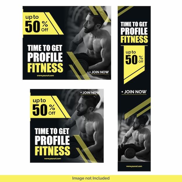 Modelo de design do ginásio fitness mídia social post bundle Vetor Premium