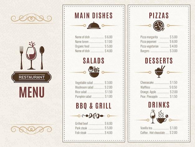 Modelo de design do menu do restaurante Vetor Premium