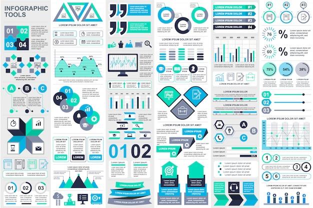 Modelo de design do vetor de elementos de visualização de elementos infográfico Vetor Premium