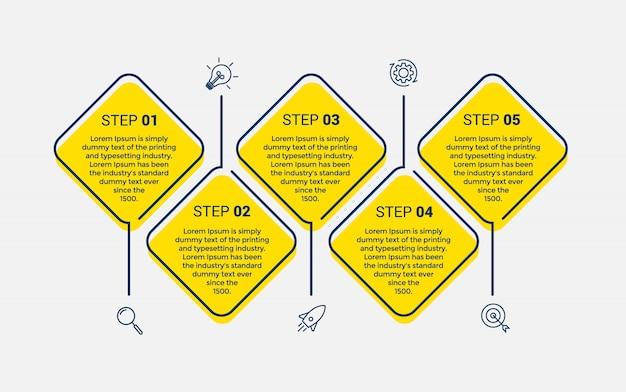 Modelo de design do vetor infográfico com 5 opções ou etapas Vetor Premium