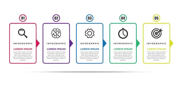 Modelo de design do vetor infográfico linha fina Vetor Premium