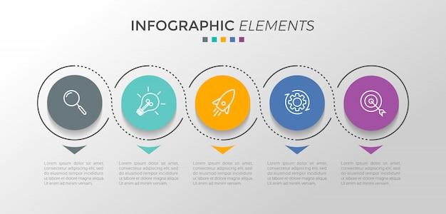 Modelo de design infográfico com 5 opções ou etapas Vetor Premium