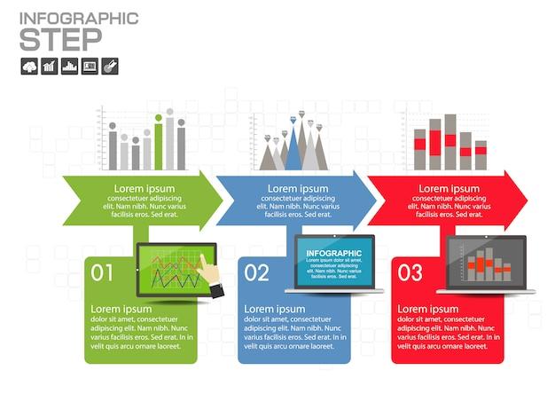 Modelo de design infográfico com ícones e opções Vetor Premium