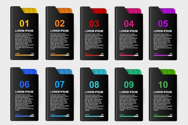 Modelo de design infográfico para negócios 10 passo Vetor Premium