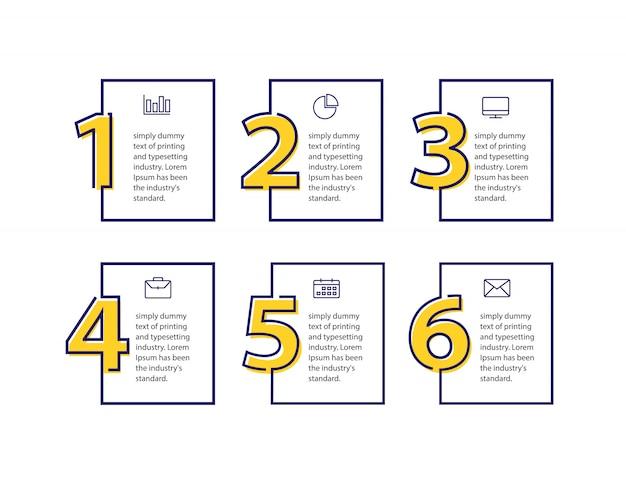 Modelo de design limpo para banners numerados Vetor Premium
