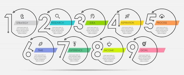 Modelo de design mínimo infográfico linha fina com ícones e 9 opções ou etapas. Vetor Premium