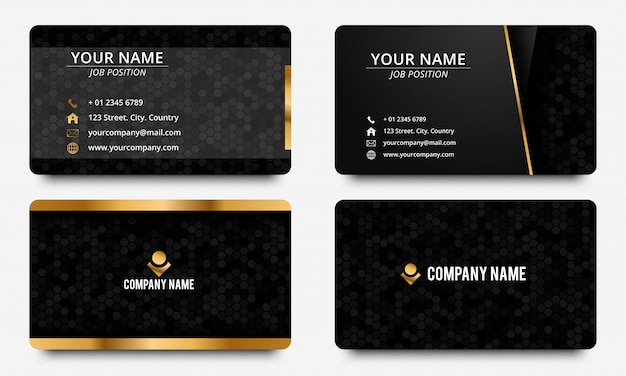 Modelo de design moderno cartão de visita. cor preta e dourada Vetor Premium