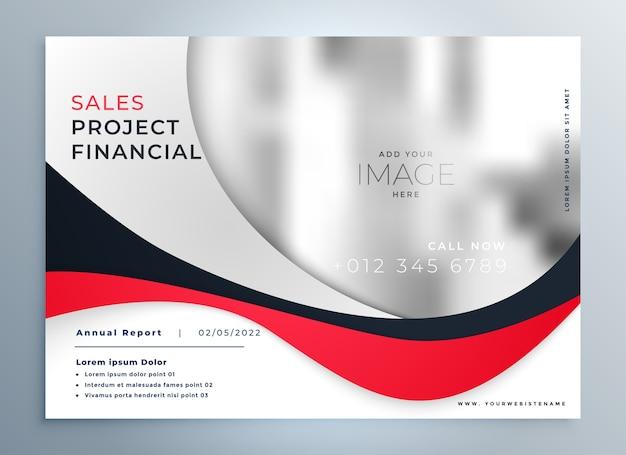 Modelo de design moderno de apresentação de negócios ondulado em vermelho Vetor grátis