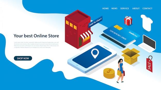 Modelo de design moderno página de destino com ilustração vetorial de uma mulher compras on-line com elementos Vetor Premium