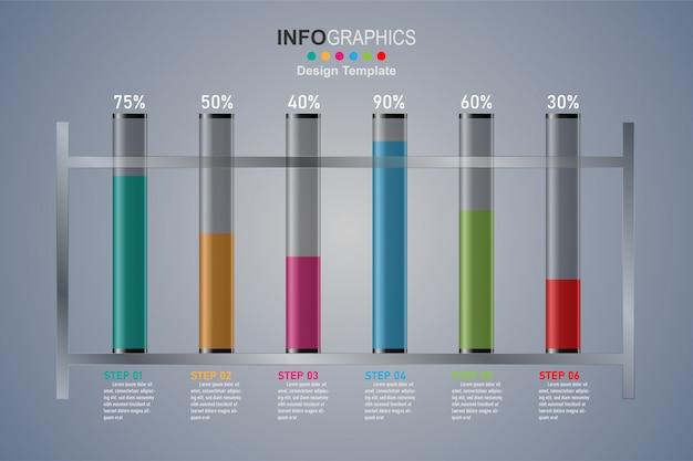 Modelo de design moderno para infográficos com tubos de vidro 6 passo. Vetor Premium