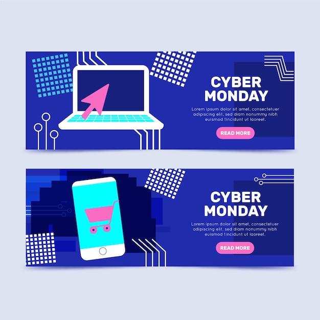 Modelo de design plano de banners cibernéticos de segunda-feira Vetor grátis