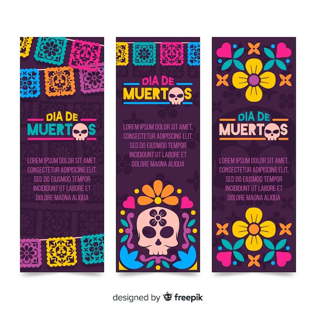 Modelo de design plano dia de muertos banners Vetor grátis