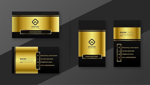 Modelo de design premium de cartão de visita dourado e preto Vetor grátis