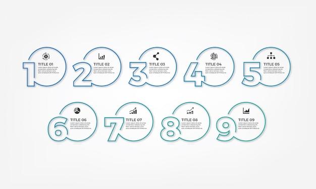 Modelo de design simples moderno linha fina infográfico Vetor Premium