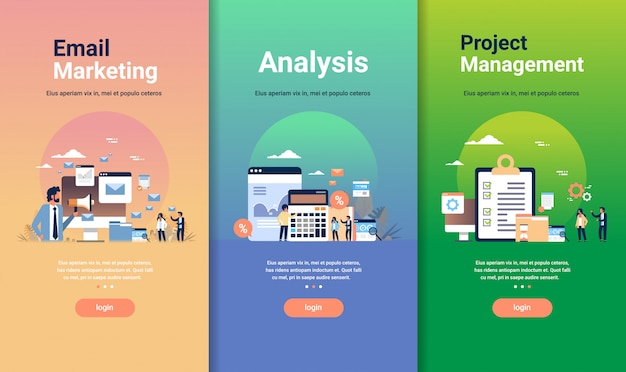 Modelo de design web definido para análise de marketing de e-mail e conceitos de gerenciamento de projetos coleção de negócios diferentes Vetor Premium