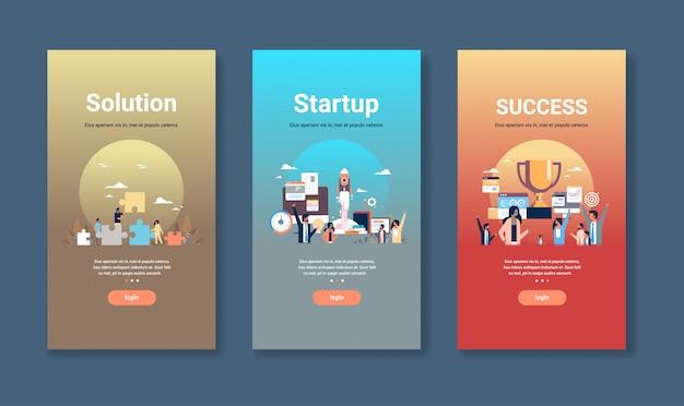 Modelo de design web definido para conceitos de inicialização e sucesso da solução coleção de negócios diferentes Vetor Premium