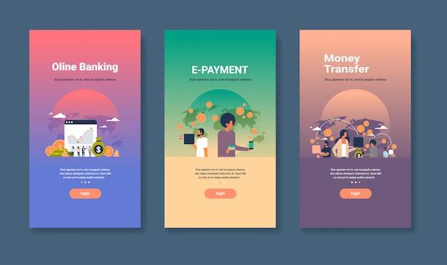 Modelo de design web definido para e-pagamento bancário on-line e conceitos de transferência de dinheiro coleção de negócios diferentes Vetor Premium