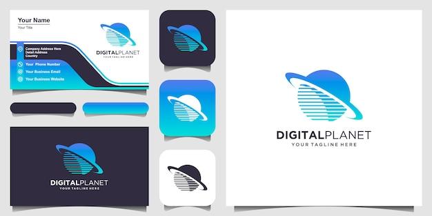 Modelo de designs de logotipo de planeta digital. pixel combinado com o signo do planeta. Vetor Premium