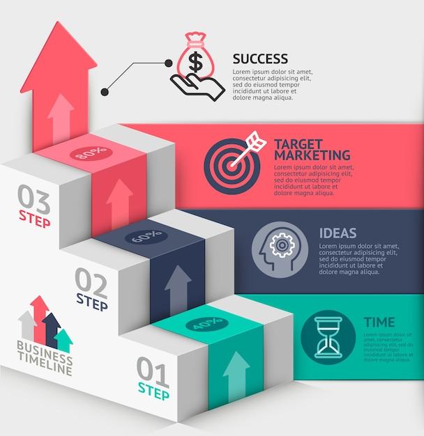 Modelo de diagrama de escada de negócios. Vetor Premium