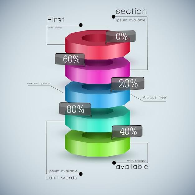 Modelo de diagrama de negócios 3d realista com campos de texto e proporção de porcentagem coloridos Vetor grátis