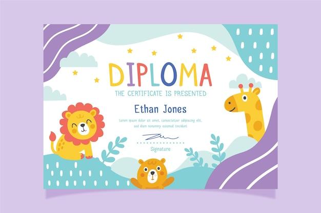 Modelo de diploma com tema para criança Vetor grátis