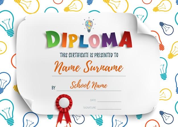 Modelo de diploma para creche pré-escolar da escola de crianças, fundo de certificado. ilustração Vetor Premium