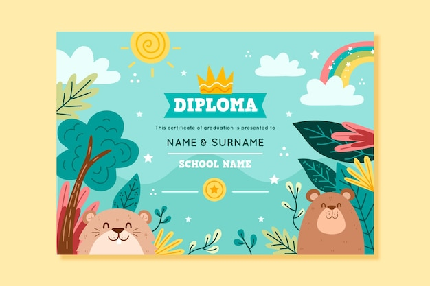 Modelo de diploma para crianças com animais e natureza Vetor Premium