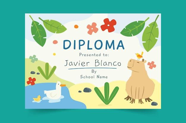 Modelo de diploma para crianças com animais Vetor grátis