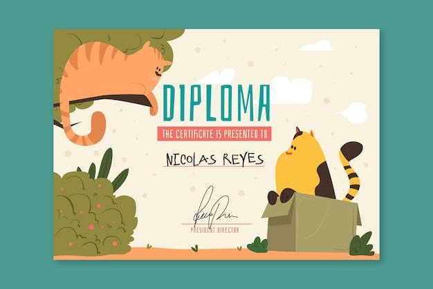 Modelo de diploma para crianças Vetor grátis