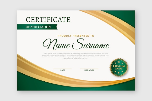 Modelo de diploma Vetor Premium