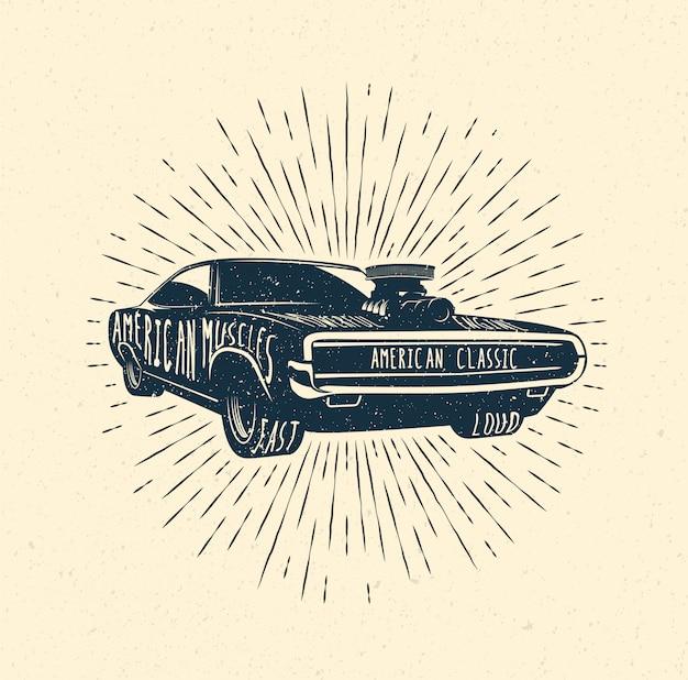 Modelo de distintivo de rótulo de carro músculo dos anos 70. ilustração com estilo vintage. Vetor Premium