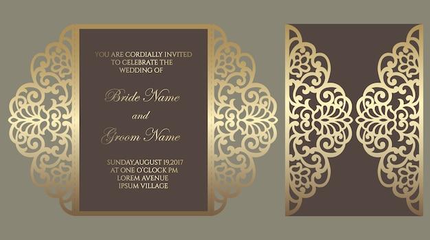Modelo de dobra de portão de corte a laser ornamentado. projeto de envelope de convite de casamento. Vetor Premium