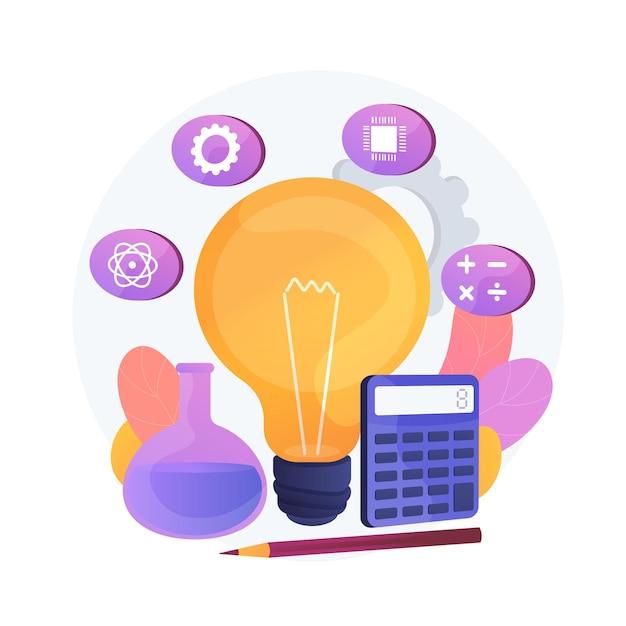 Modelo de educação stem. programa de aprendizagem, campos básicos de estudo, disciplinas escolares. lâmpada com ícones de ciência, tecnologia, engenharia e matemática. Vetor grátis