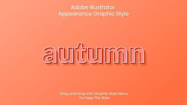 Modelo de efeito de estilo de texto de outono Vetor Premium