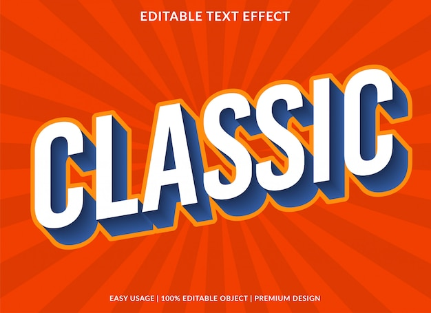 Modelo de efeito de texto clássico com estilo de tipo 3d e texto em negrito Vetor Premium