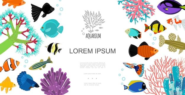 Modelo de elementos de aquário plano com peixes coloridos, bolhas de água, corais e algas marinhas Vetor grátis